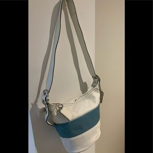 NWT Coach blue and white bucket purse